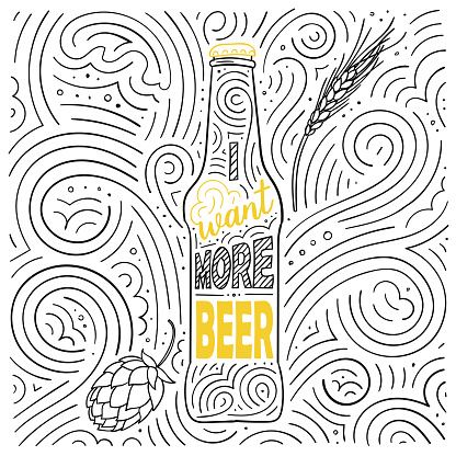 Beer theme card design. The lettering - I Want More Beer. Handwritten swirl pattern. Vector illustration.