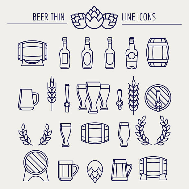 Beer thin line icons set vector art illustration