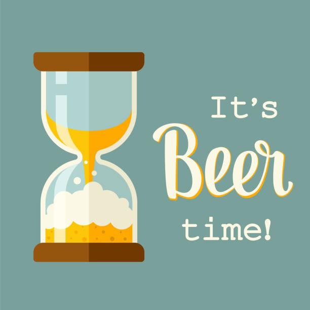 Bierzeitkonzept Illustration mit Beschriftung. Zeit, um Bier zu trinken, Retro-Stil Plakat. Stundenglas-Ikone, flacher Stil. – Vektorgrafik