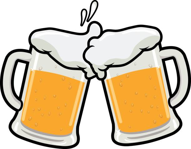 Beer toasting Vector illustration of two beer mugs toasting beer glass stock illustrations