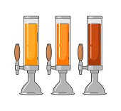 Beer tower with different types beer - lager, ale, stout. Vintage vector flat illustration. Isolated on white background. For emblem, web, info graphic