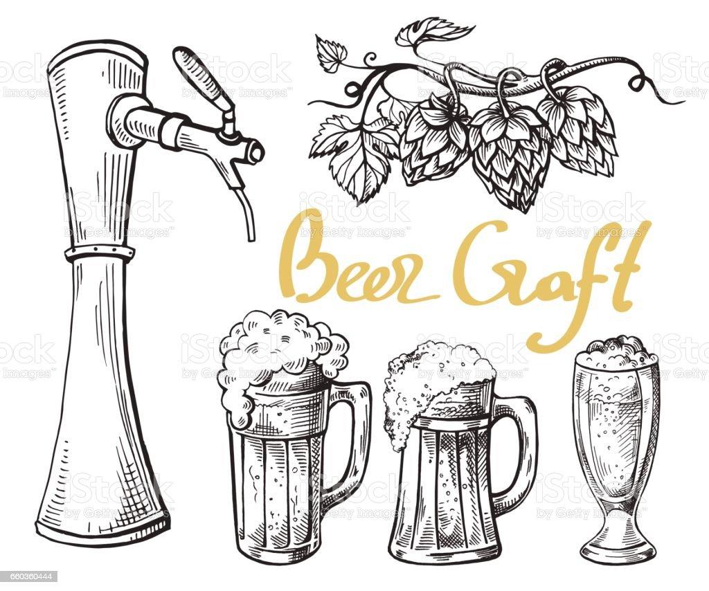 beer tower hops mug and glass vector art illustration