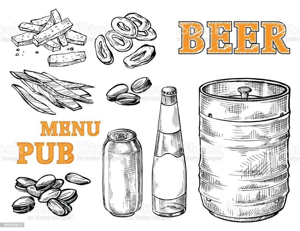 Bierkrug Turm Hopfen und Glas – Vektorgrafik