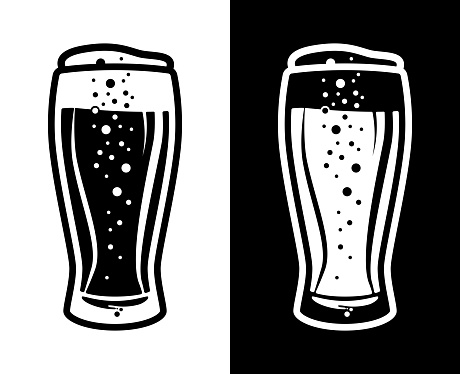 Beer Tulip Glass Icon Black and White Two Colour Option
