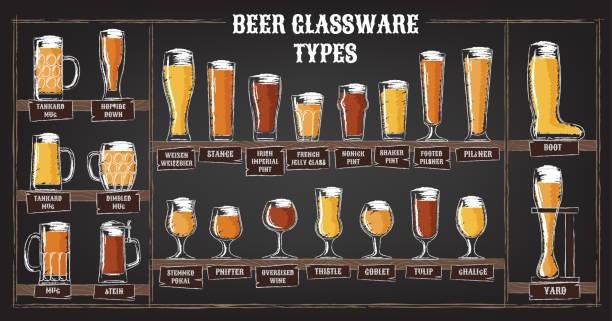 Tipos de cerveja. Um guia visual de tipos de cerveja. Vários tipos de cerveja em copos recomendados - ilustração de arte em vetor