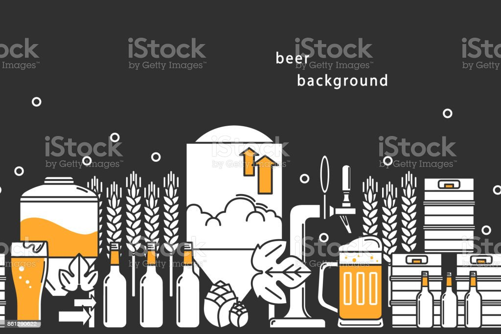 Beer. Vector background. Bottles, keg, glass, mug, equipment for brewery, hops, wheat. Line icons on a dark background. vector art illustration