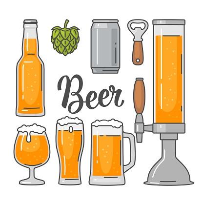 Beer vector flat icons set bottle, glass, barrel, pint