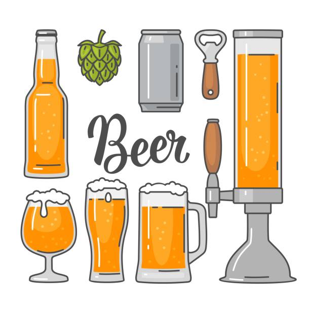 Beer vector flat icons set bottle, glass, barrel, pint Beer vector flat icons set - bottle, glass, tap, can, hop. Vintage vector flat illustration. Isolated on white background. For emblem, web, info graphic beer stock illustrations