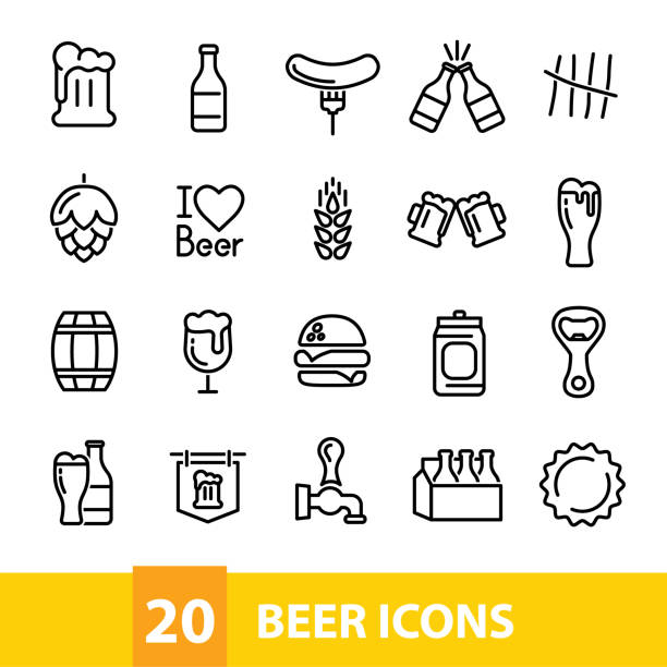 beer vector icons collection vector art illustration