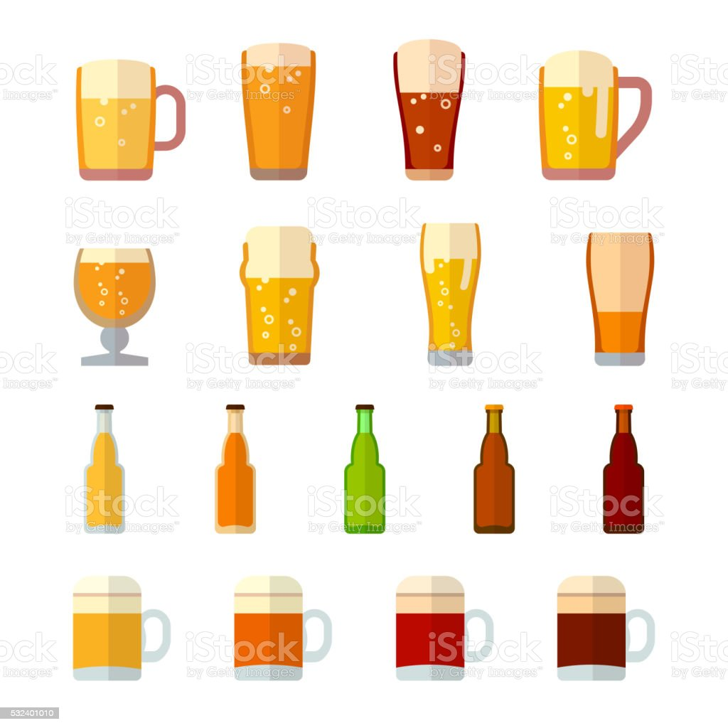 Beer vector icons in flat style vector art illustration