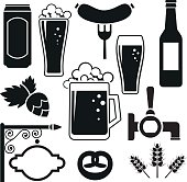 Beer vector icons set (hops leaf, glass, can, mug, bottle)