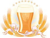 Glass of beer & wheat - decorative design, layered vector artwork