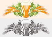 Glass of beer, wheat & hop - decorative design, color & grayscale versions; vector artwork