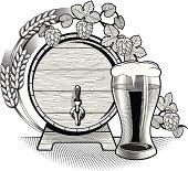 glass & barrel of beer, vector artwork