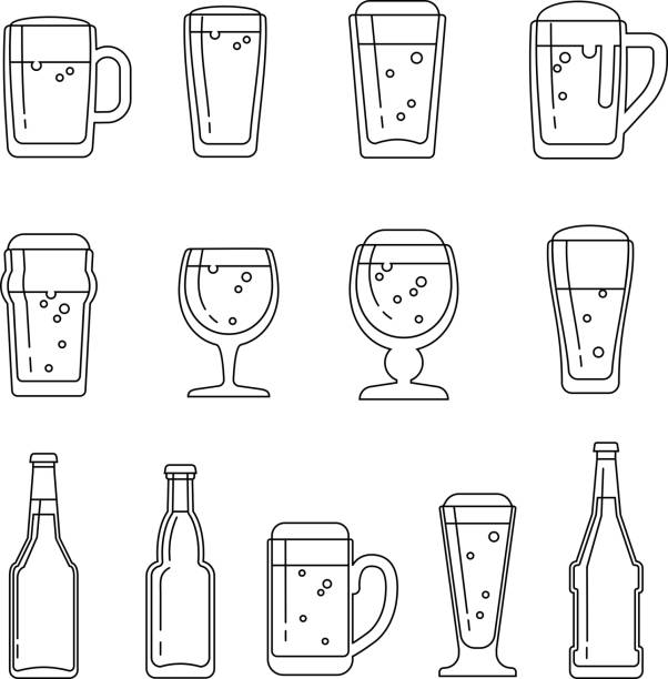 Beer vector line icons vector art illustration