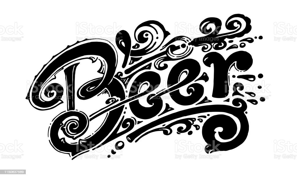 Beer, vector logo for printing, labels and packaging. Made by hand,...
