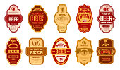 Beer vintage labels. Retro beers brewery badges, alcohol craft vintage lager can or bottle symbols vector isolated illustration set