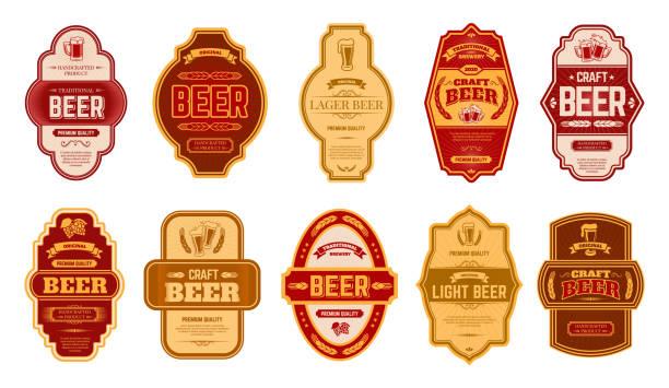 stockillustraties, clipart, cartoons en iconen met bier vintage labels. retro bieren brouwerij badges, alcohol ambachtelijke vintage pils kan of fles symbolen vector geïsoleerde illustratie set - bier
