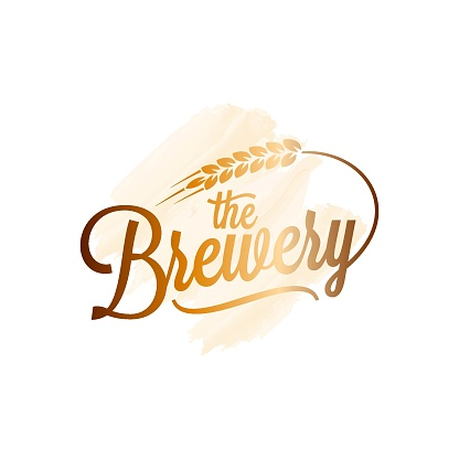 Beer vintage lettering. Brewery watercolor with wheat on black white