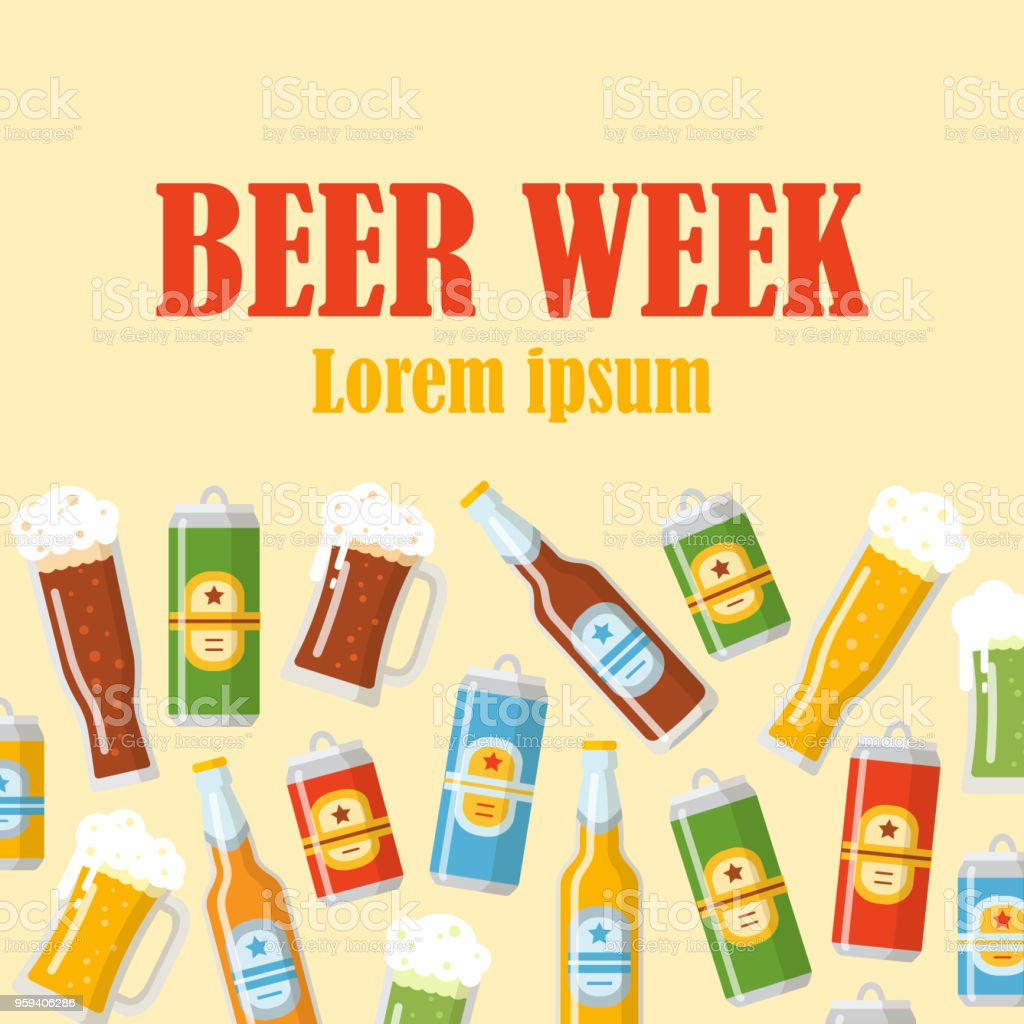 Beer week flat poster vector art illustration