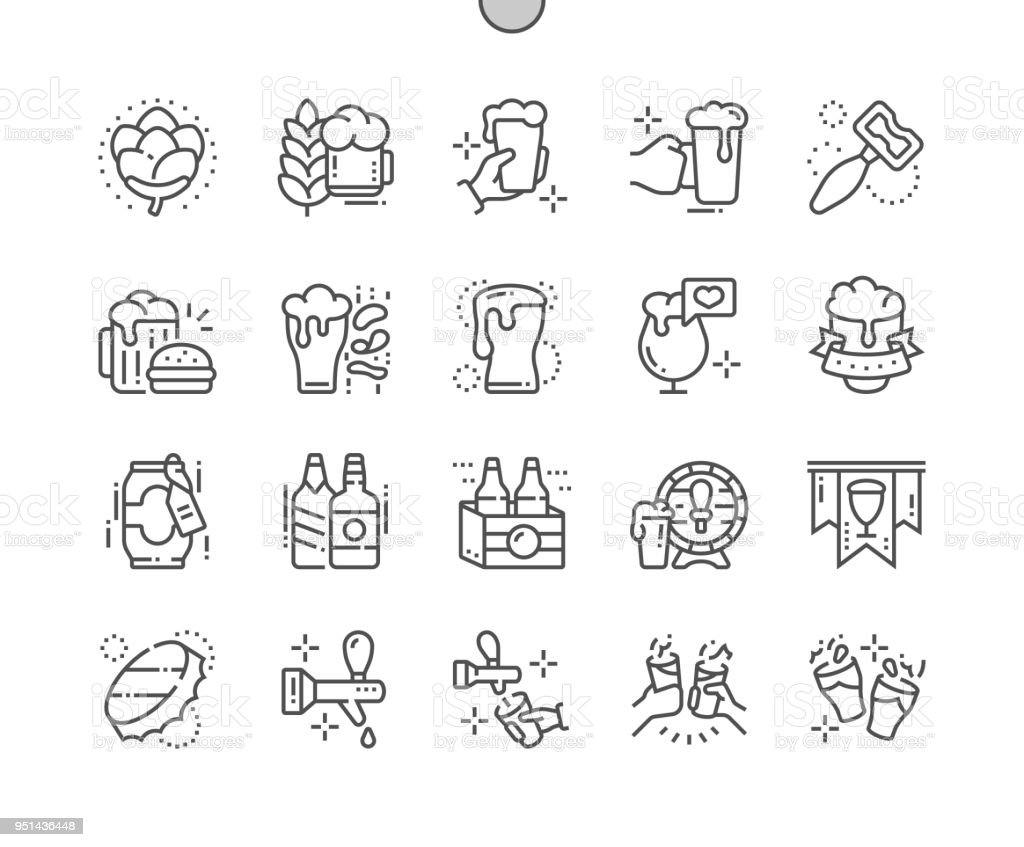 Beer Well-crafted Pixel Perfect Vector Thin Line Icons 30 2x Grid for Web Graphics and Apps. Simple Minimal Pictogram vector art illustration