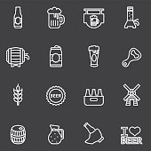 Beer White Line icons