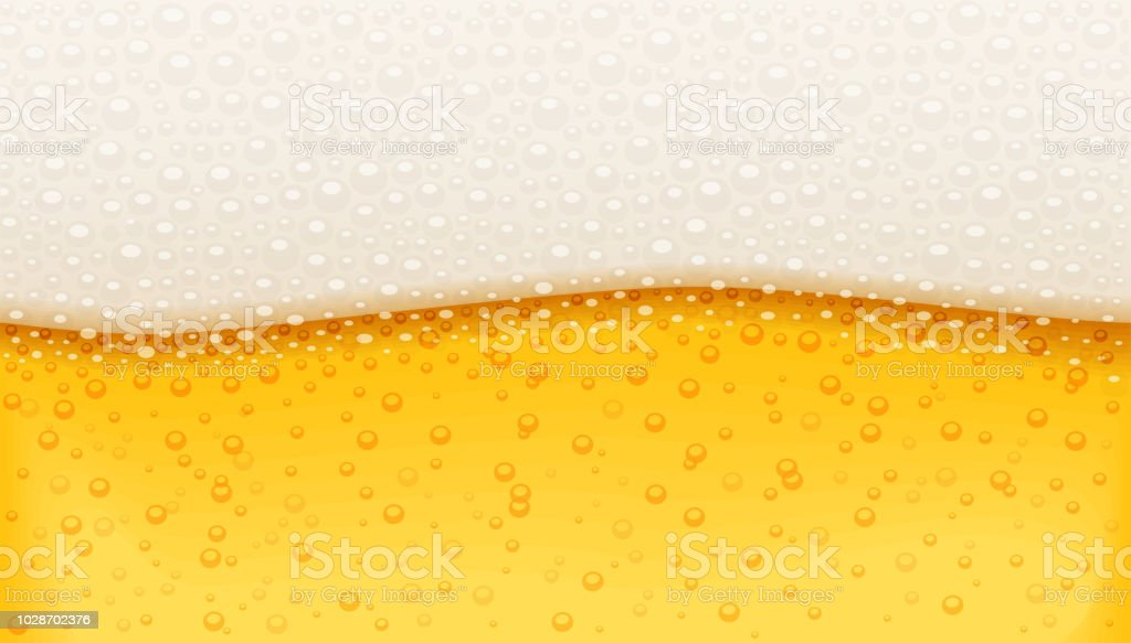 Beer with bubble foam. Brewery pattern. Octoberfest holiday drink. vector art illustration