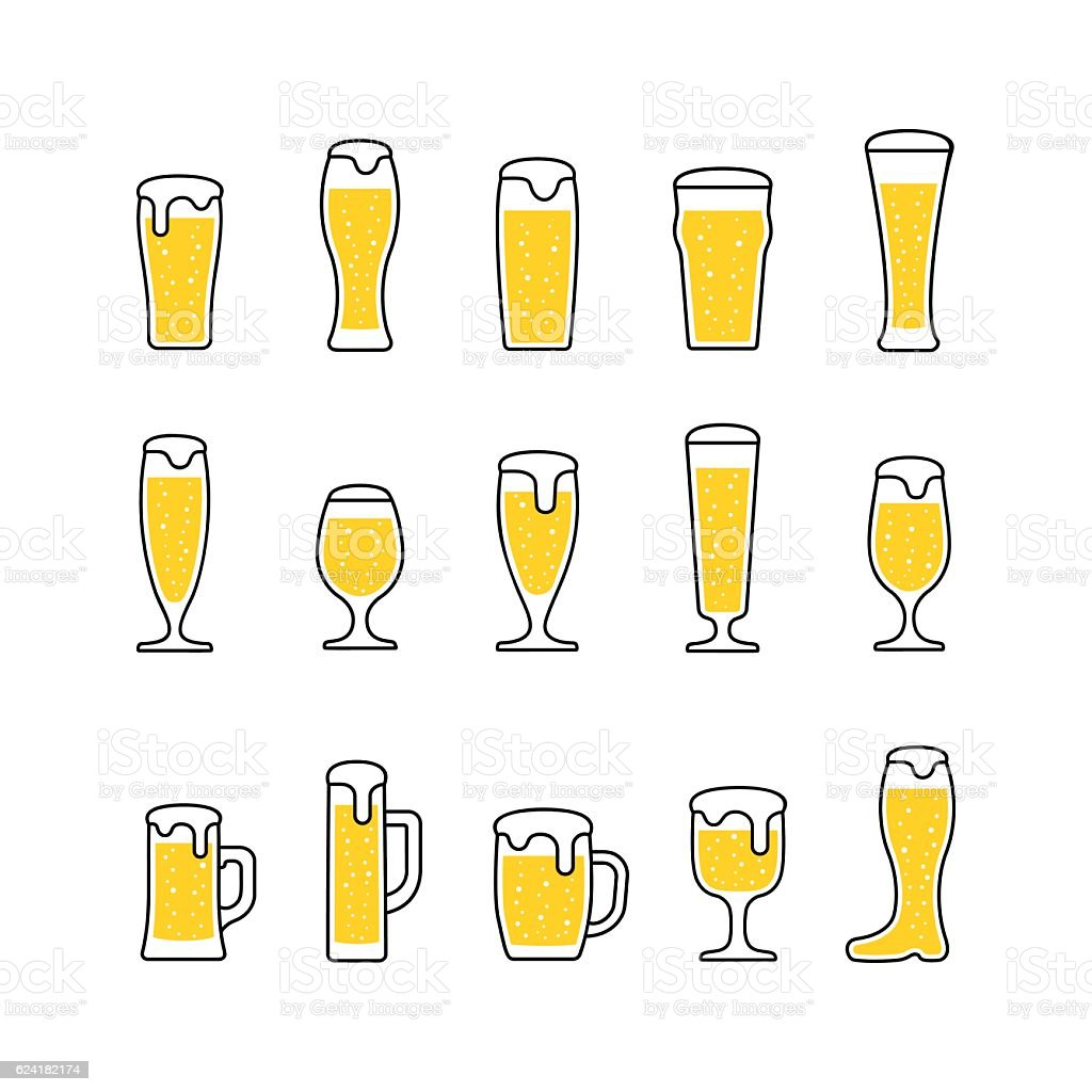 Beer with bubbles in glasses and mugs. Vector vector art illustration