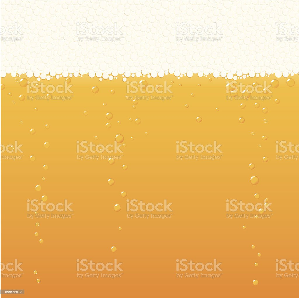 Beer with froth and bubbles vector art illustration