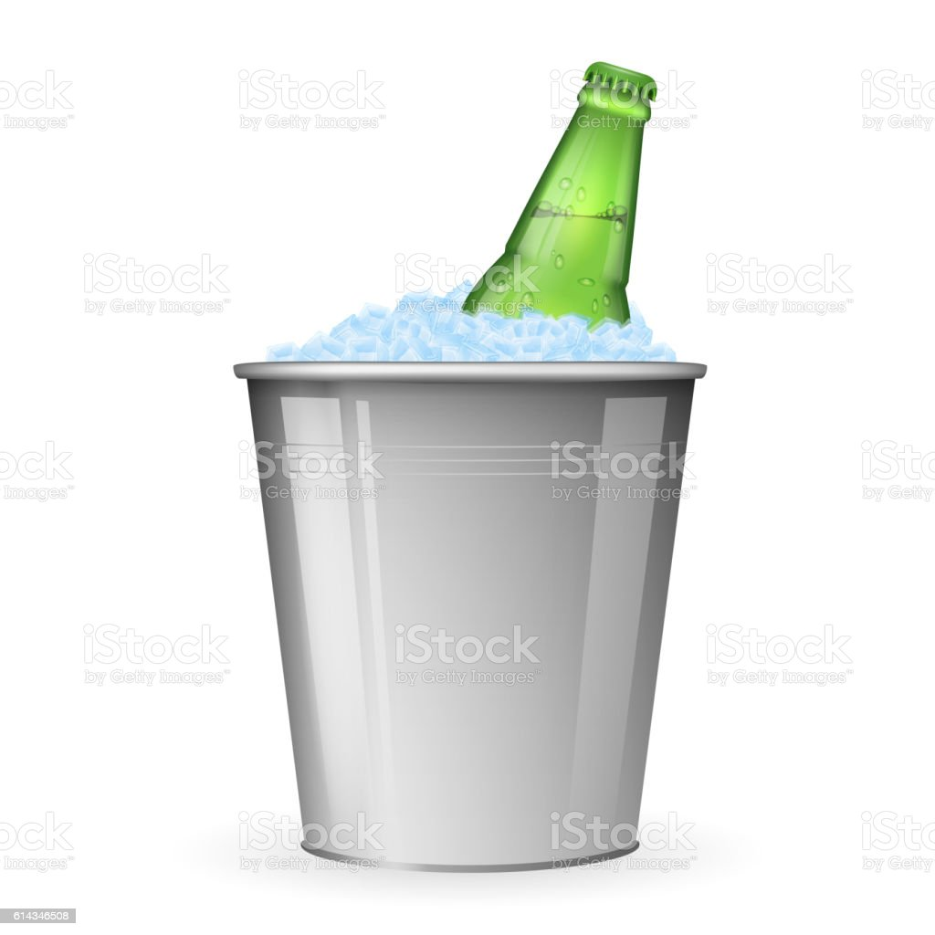 Beer with ice in metal bucket isolated on white vector vector art illustration