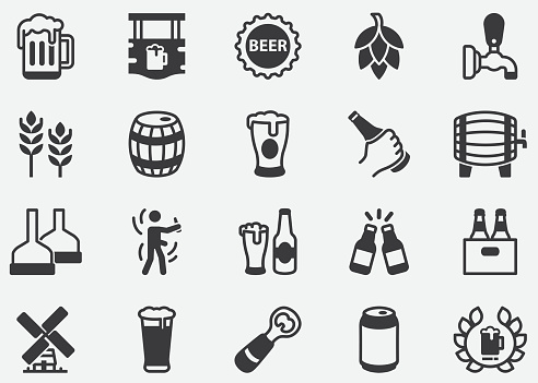 Beer,Brewery,Beer Bottle, Glass, Barrel, Six-pack, Keg, Mug,Pouring Beer from Tap into Glass Pixel Perfect Icons
