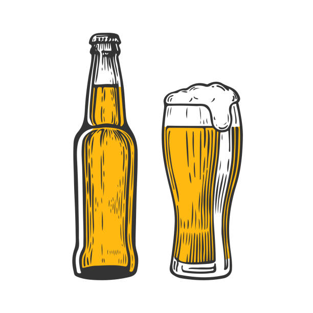 stockillustraties, clipart, cartoons en iconen met beerbtgc - bierfles