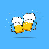 Beers isolated vector illustration party two friend are drinking.