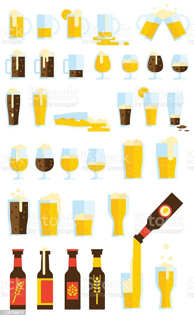 Beers Set vector art illustration