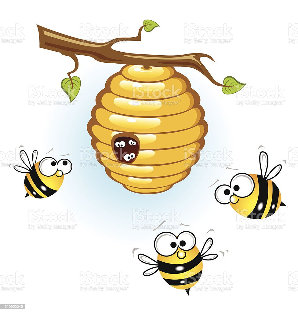 Bees and a beehive vector art illustration