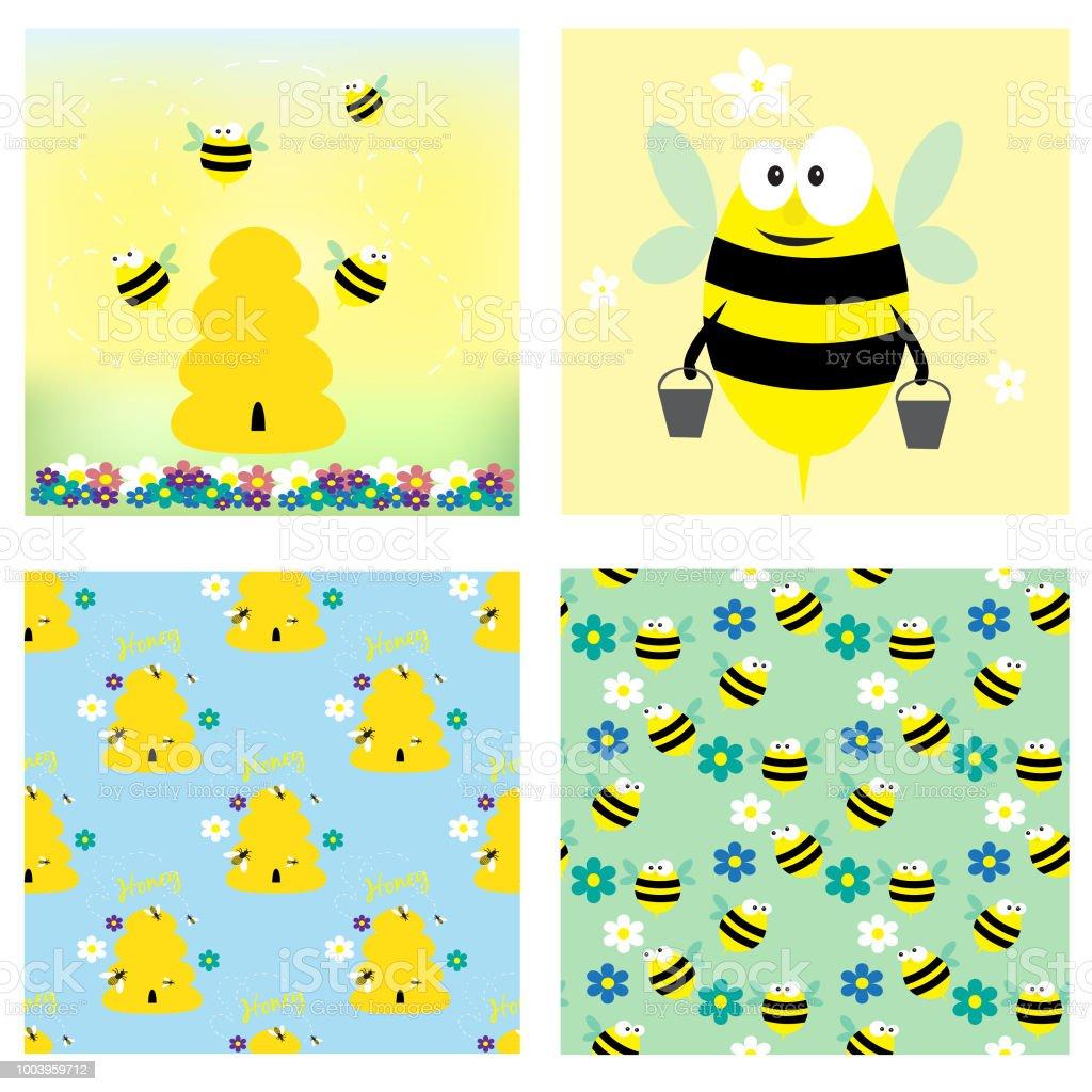 Bienen und Honig-Sammlung. Zwei Karten und zwei nahtlose Muster. – Vektorgrafik