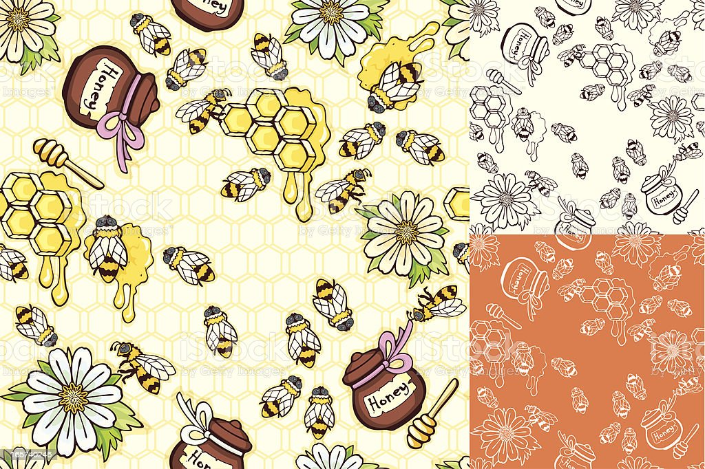 Bees and honey seamless backgrounds set vector art illustration