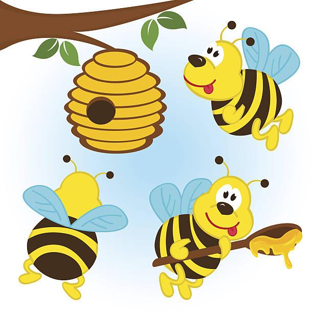 abejas de dibujos animados sosteniendo flor y colmena vectores y grficos