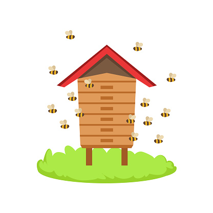 Bees Around Wooden Beehive Cartoon Farm Related Element On Patch Of Green Grass