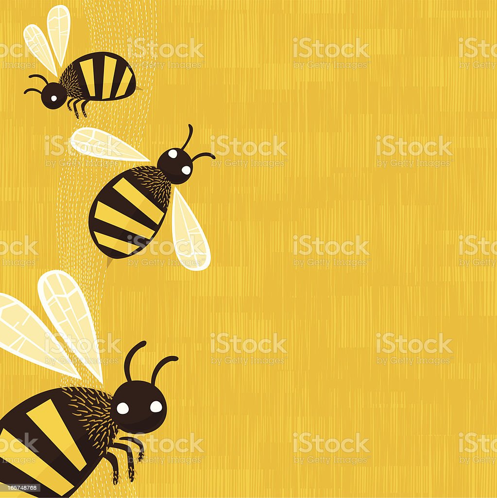 Bees background vector art illustration