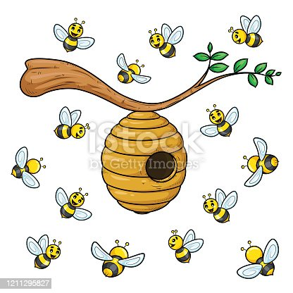 Bees cartoon collection with beehive.