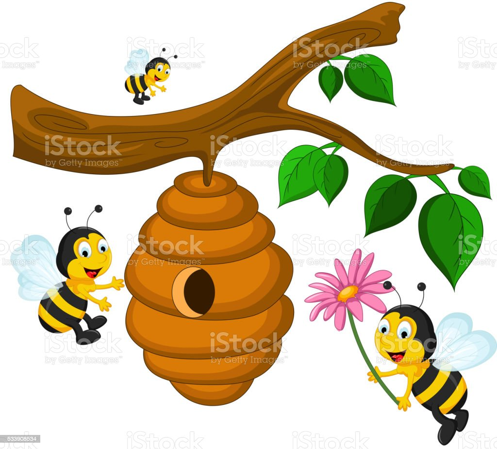 abejas de dibujos animados sosteniendo flor y colmena illustracion libre de derechos libre de derechos