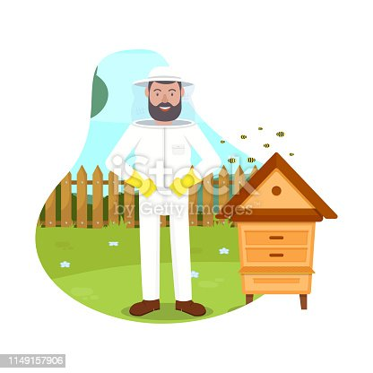 istock Bees Fly near Beekeeper. Beehive in Apiary. Vector 1149157906