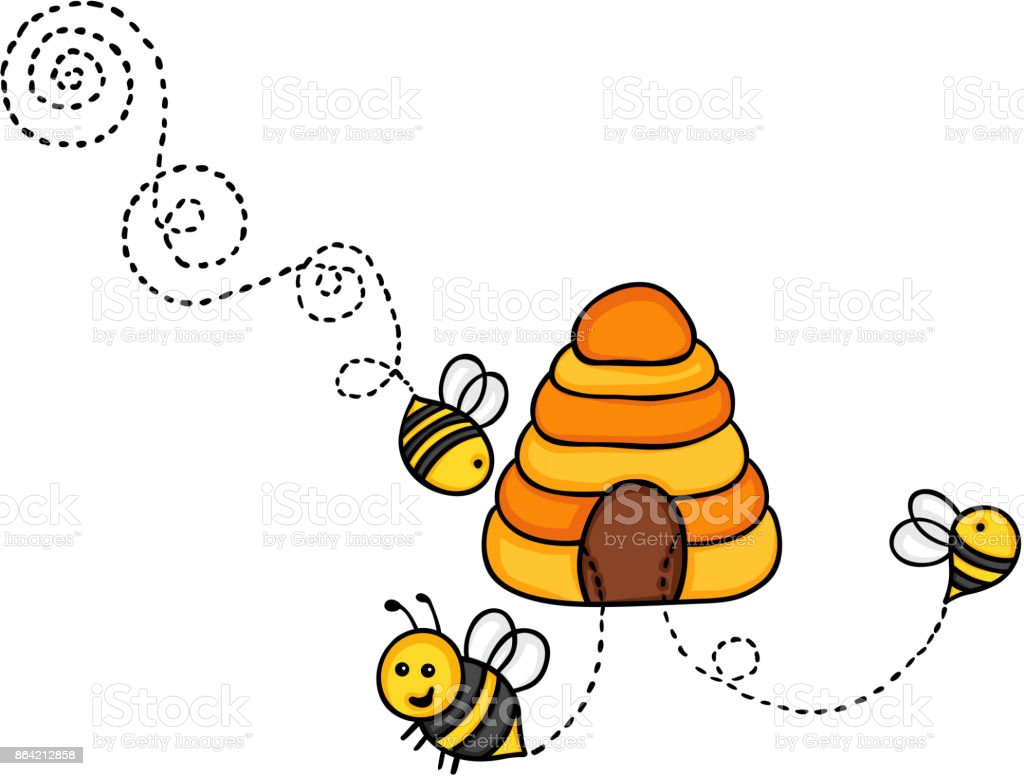 Bees fly out of a beehive royalty-free bees fly out of a beehive stock vector art & more images of animal