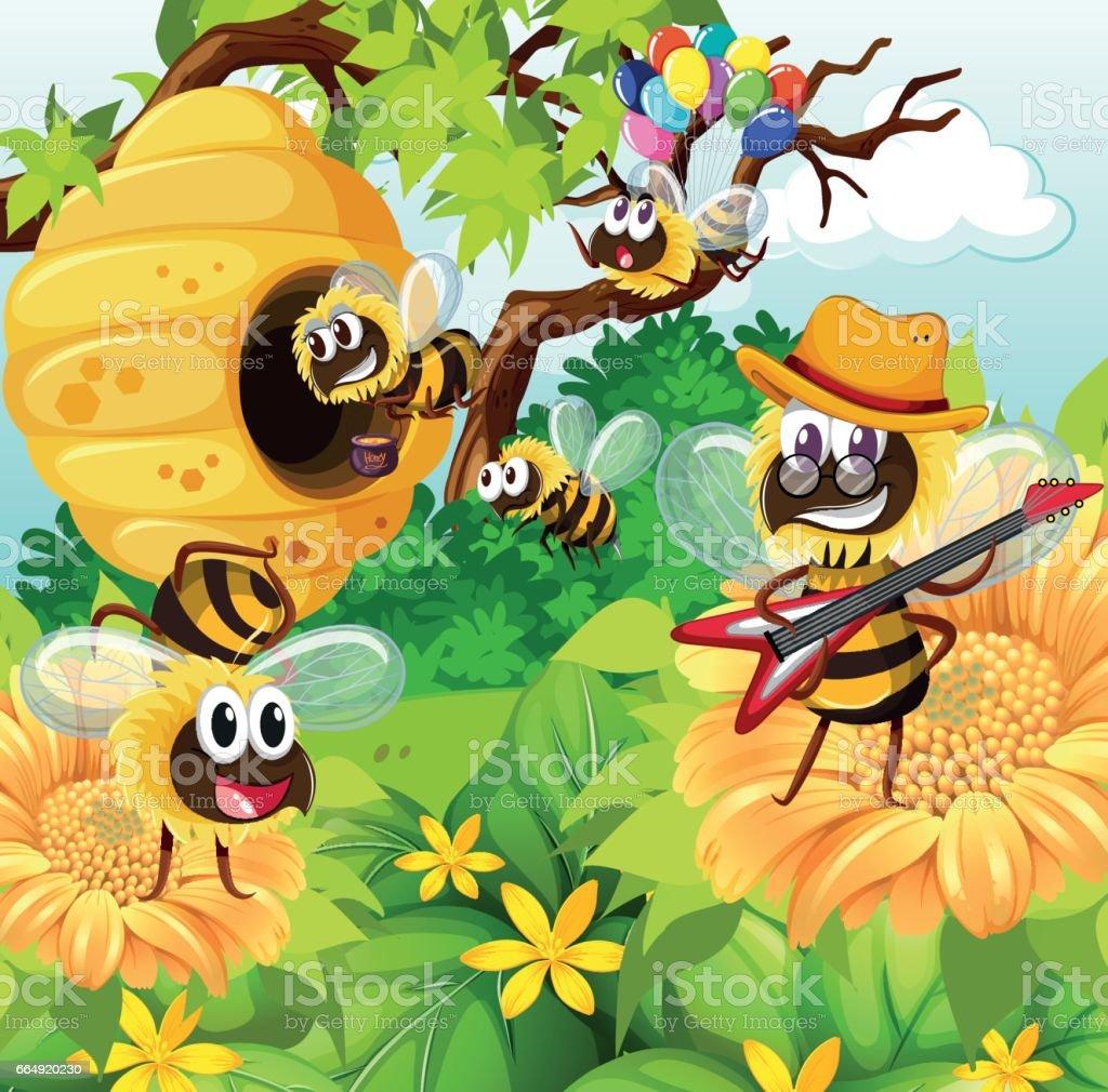 Bees flying around beehive in garden vector art illustration