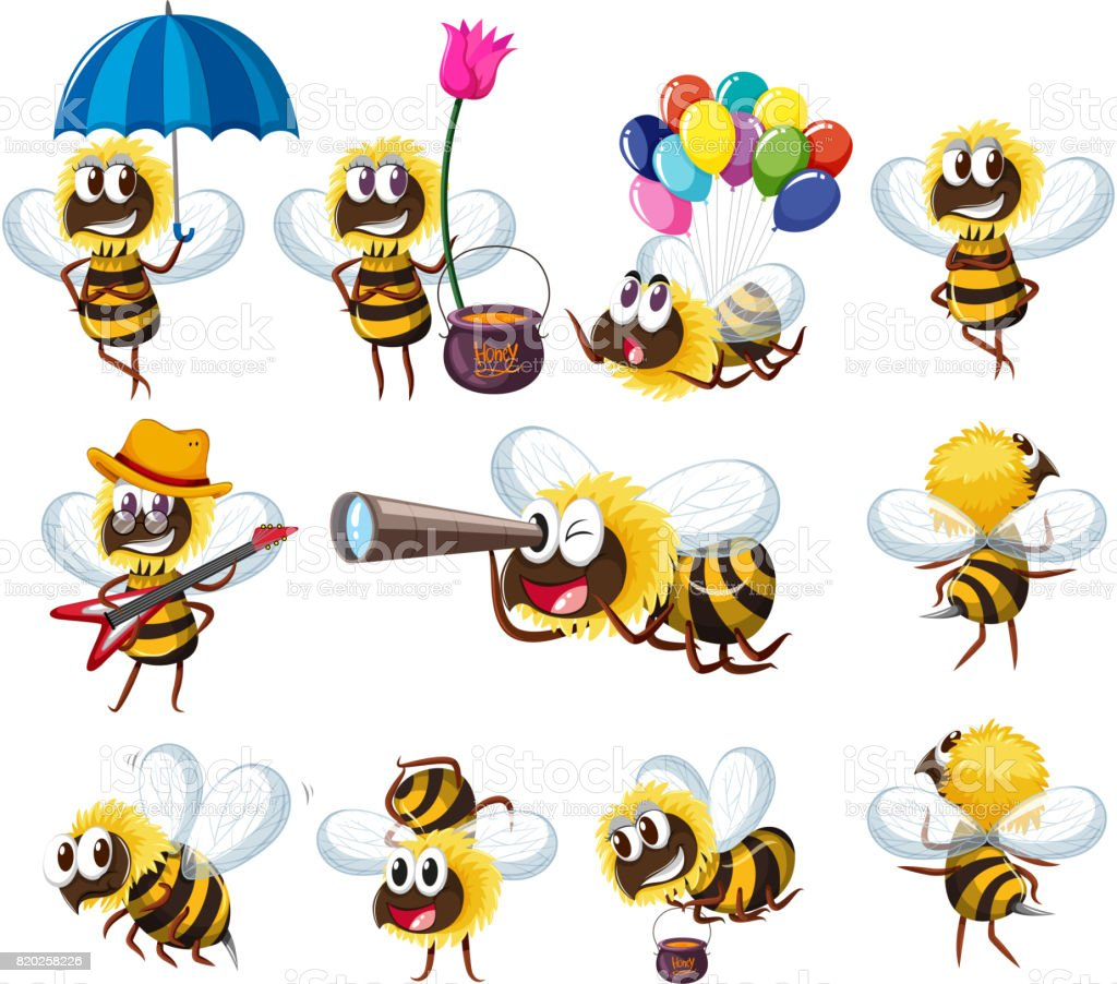 Bees in different actions vector art illustration