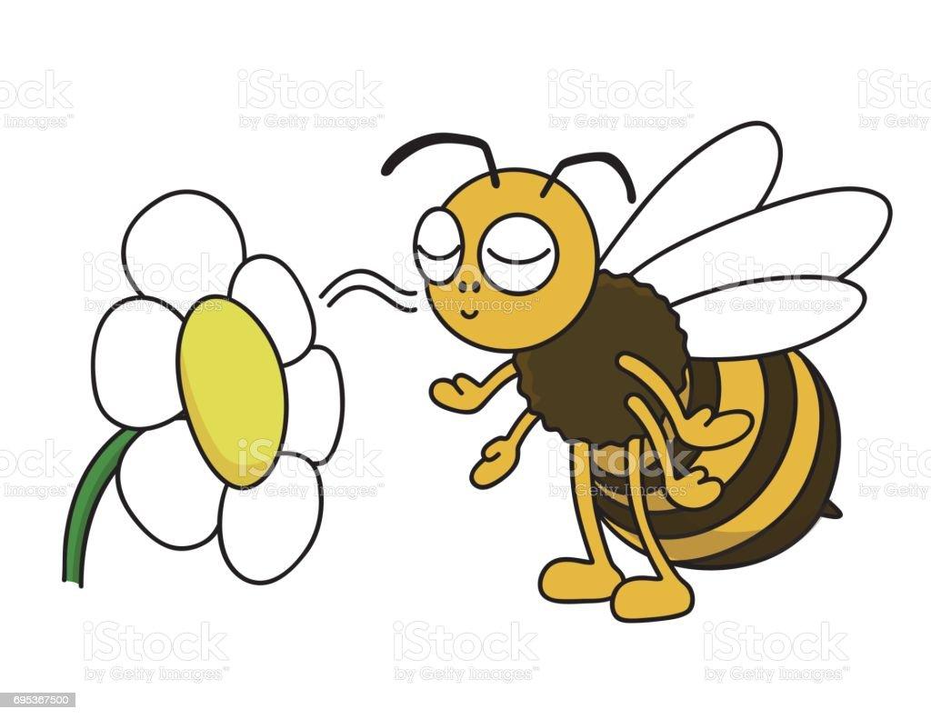 ミツバチは花の匂い ベクターアートイラスト