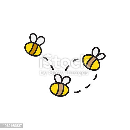 Bees vector illustration. Hand drawn cute honey bees flying. Outlined isolated insect cartoon graphic.