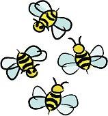 Flying Bees Cartoonish Illustartion