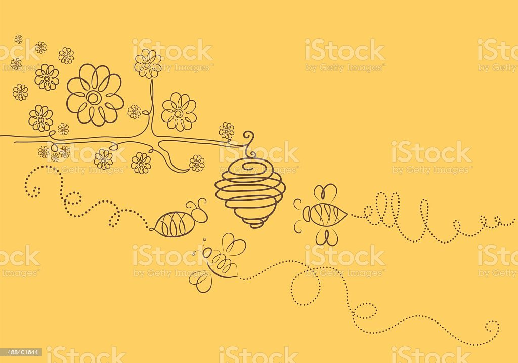 bees vector art illustration